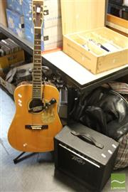 Sale 8478 - Lot 2246 - Semi Acoustic Guitar on Stand with Amp