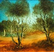 Sale 8575 - Lot 549 - Kevin Charles (Pro) Hart (1928 - 2006) - Landscape with Trees 36 x 36cm