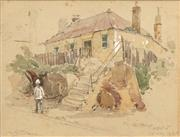 Sale 8606 - Lot 585 - Albert Henry Fullwood (1863 - 1930) - My Old House, Kent Street Sydney, 1835 13 x 18cm