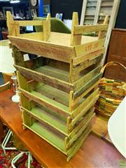 Sale 8648 - Lot 1028 - Rustic Timber Five Section Storage Rack
