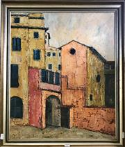 Sale 8794 - Lot 2018 - Janet Venn-Brown - Town Buildings oil on canvas, 70 x 60cm (frame), signed
