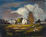 Sale 8992 - Lot 576 - Artist Unknown (European School) - Farmyard & Windmill 59.5 x 78.5 cm (frame: 73 x 92 x 4 cm)