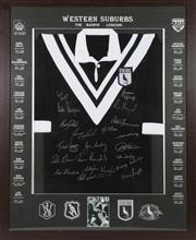 Sale 9003 - Lot 65 - Western Suburbs Rugby League Signed and Framed Jersey