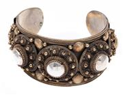 Sale 9010H - Lot 32 - An open style bracelet with an intricate applied silver dome design, Width 3.8cm, wt 70.5g