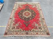 Sale 9059 - Lot 1060 - Red & Black Tone Carpet With Blue Floral Border On Cream Background & Large Central Medallion Surrounded By Floral  ( 242 x 335cm)