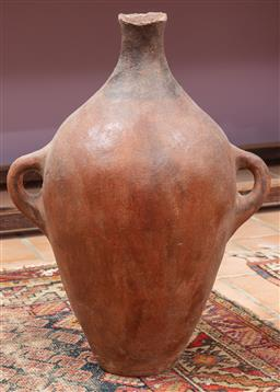 Sale 9120H - Lot 118 - A large antique terracotta twin handled oil carrier, Height 59cm