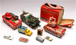 Sale 9131 - Lot 58 - Collection of vintage toys inc sewing machine, tin tank, Pez and Flintstones