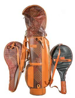 Sale 9164 - Lot 428 - Escada Golf Bag together with a His and Her Tennis Racquet Covers