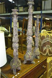 Sale 8165 - Lot 1034 - 3 Carved Timber Candle Holders