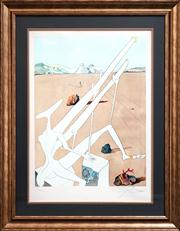 Sale 8459 - Lot 529 - Salvador Dali (1904 - 1989) - Martian Dali Equipped with a Double Pholoelectronic Microscope 75 x 55cm