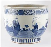 Sale 8536 - Lot 48 - A Ching style blue and white jardiniere with figural design, H 27.5cm