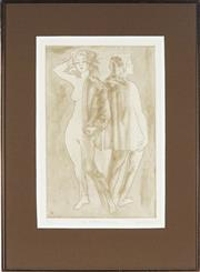 Sale 8845 - Lot 2025 - Louis Kahan (1905 - 2002) - Two walking figures, 1985 40 x 35cm