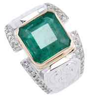Sale 8946 - Lot 386 - A GENTS PLATINUM EMERALD AND DIAMOND RING; rub set with a square emerald cut emerald of approx. 4.6ct to engraved shoulders and sha...