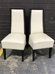 Sale 8959 - Lot 1076 - Set of Eight White Leather Upholstered Dining Chairs with Timber Frames (H:105 W:46cm)