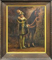Sale 8961 - Lot 2053 - Artist Unknown A Tudor Artistocrat and His Horse oil on board, 102 x 80cm (frame)