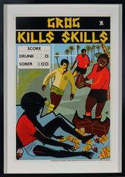 Sale 8992 - Lot 593 - Marie McMahon (1953 - ) - Grog Kills Skills, Football sheetsize: 75 x 50 cm (frame: 88 x 63 x 4 cm)