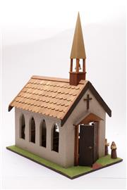 Sale 9027D - Lot 725 - Large display model of a church (H49cm)
