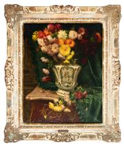 Sale 9040H - Lot 91 - Désiré Alfred Magne (French, 1855-1936) - Still life (Chrysanthemums in Urn) 79.5 x 63cm