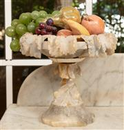 Sale 9071H - Lot 2 - A Victorian alabaster with faux fruit featuring a vine decoration to rim, Height 23cm x Width 25cm