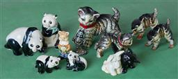 Sale 9103H - Lot 71 - A group of animalia comprising kittens, pandas and other small ceramics, Length of largest cat 11cm