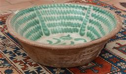 Sale 9120H - Lot 119 - A large terracotta wash bowl with green interior, Diameter 61cm  repaired