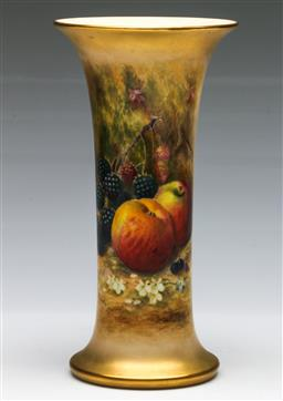 Sale 9138 - Lot 4 - A Hand painted Royal Worcester Trumpet Vase (H:22cm), Signed Ricketts