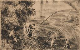 Sale 9237A - Lot 5075 - ERZSEBET WEIL (1901 - 1976) (HUNGARIAN) Fishing Lesson, c1930 etching 19 x 29 cm (frame: 38 x 48 x2 cm) signed lower right