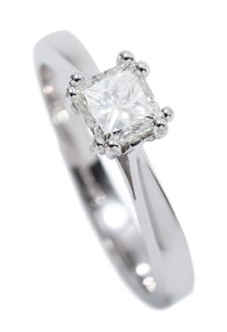 Sale 9213 - Lot 367 - AN 18CT WHITE GOLD SOLITAIRE DIAMOND RING; featuring a princess cut diamond of 0.70ct, G/SI2, size N, wt. 4.09g.