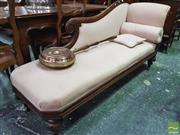 Sale 8444 - Lot 1096 - William IV Mahogany Chaise Lounge, with lyre end and scrolled back, upholstered in pink diaper fabric & on turned carved feet