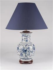 Sale 8444A - Lot 32 - A pair of hand painted blue and white oriental style baluster lamps, with navy barrel shade, total H 63cm