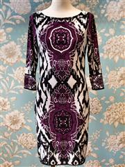 Sale 8474A - Lot 99 - A fabulous Queens Park black & purple baroque print dress, fabric is light & stretchy (lined) - Condition: very good - Size: 8/10