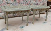 Sale 8677B - Lot 597 - A pair of carved and painted sidetables in the Italianate taste in duck egg blue with highlights in gilt.