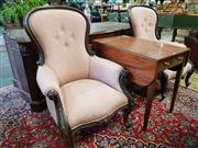 Sale 8792 - Lot 1081 - Pair of Victorian Mahogany Balloon Back Armchairs, upholstered in a fine seaweed type pattern & on cabriole legs