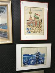 Sale 8794 - Lot 2045 - Pair of Japanese Woodblock Prints, approx. 64 x 46.5cm (frame, each)