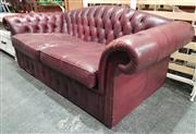 Sale 8959 - Lot 1049 - Leather Chesterfield 2 Seater Lounge (H: 67, W: 190, D: 87cm)
