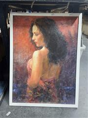 Sale 8981 - Lot 2094 - Canvas Print of a Lady in Red, signed, 58x42cm