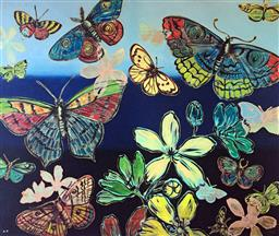Sale 9129A - Lot 5024 - David Bromley (1960 - ) - Butterflies and Flowers 77.5 x 91.5 cm