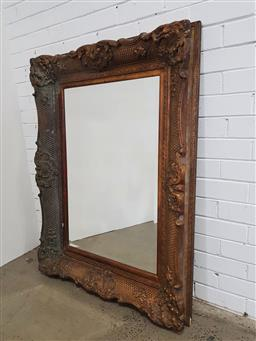 Sale 9162 - Lot 1049 - Antique Style  Rectangular Gilt Mirror, with articulated corners & lattice marked frame ( 128 x 96cm)