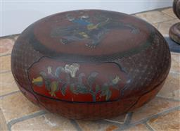 Sale 9191H - Lot 15 - A Chinese Lacquered lidded container together with a timber food carrier, D 30 cm and D 23 cm