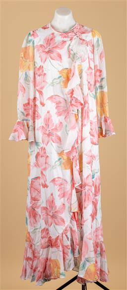 Sale 9250F - Lot 38 - A Christian Dior floral lounge wear gown, size S.