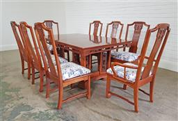 Sale 9255 - Lot 1347 - Chinese 9 piece dining suite inc 8 chairs and extension table (h:75 x w:165 x d:107cm)