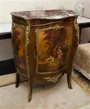 Sale 8205 - Lot 30 - A French style bombe cabinet with red marble top, painted panel of bucolic scene and ormolu mounts  Height 109 x W 82 x D 44cm