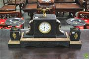 Sale 8255 - Lot 1004 - French Black Slate & Marble Clock Garniture, with enamel dial, gilt brass eagle & pair of tazza dishes