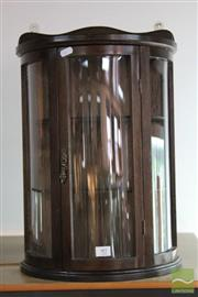 Sale 8256 - Lot 97 - Timber Wall Hung Bent Glass Display Cabinet