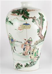 Sale 8536 - Lot 50 - A Kang Hsi style famille verte Meiping vase with figural design, H 38cm