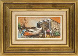 Sale 8665A - Lot 5044 - Ric Elliot (1933 - 1995) - Boat Shed 12 x 25cm