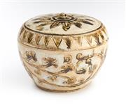 Sale 8517A - Lot 79 - A C13-14th Swanalok style porcelain covered jar with brown floral and geometric design, H 7.5cm
