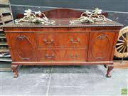 Sale 8611 - Lot 1005 - Heavily Carved Queen Anne Style Sideboard (H: 120 W: 183 D: 58cm)