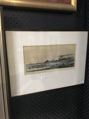 Sale 8690 - Lot 2045 - Alfred Bentley - The End of Downs, etching, 35.5 x 48cm (frame) signed lower right