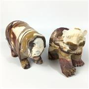 Sale 8758 - Lot 362 - Mookaite Carved Bear & Pig